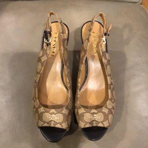 Coach ferry signature platform wedge sandal heel
